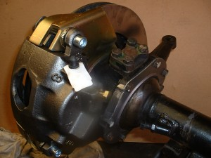 rear view of complete disc brake assembly mounted